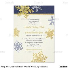Navy Blue Gold Snowflake Winter Wedding Invitation