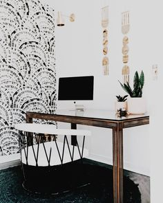 modern neutral home office Home Office Space, Home Office Design, Office Decor, House Design, Office Ideas, Design Desk, Small Office, Accent Wallpaper, Of Wallpaper