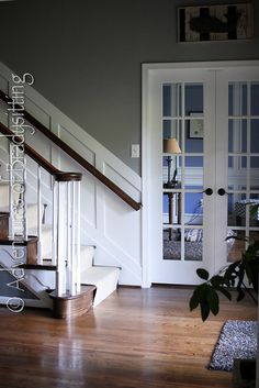DIY board and batten going upstairs- get one giant piece of mdf cut into the size strips you need, $30!
