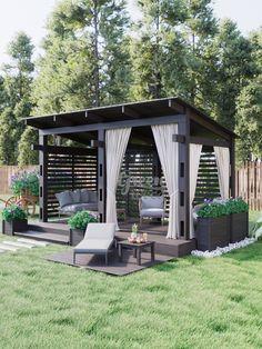 """Наша новая модель беседки """"Грин Вуд"""", тип 2.  Это модульная беседка с разнообразными опциями. Данные модели включают в себя: разные типы """"щитков"""", текстиль на выбор, кашпо разного размера, выбор основного цвета беседки, окрашивание торца или подсветка ступеньки. Backyard Gazebo, Backyard Seating, Backyard Patio Designs, Outdoor Pergola, Outdoor Rooms, Outdoor Living, Backyard Landscaping, Back Garden Design, Terrace Design"""