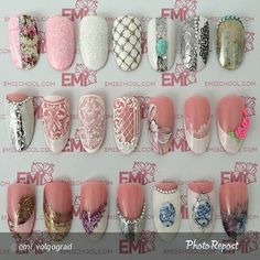 You can show these to your nail artist and she could do the pattern on your nails.
