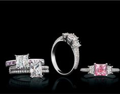 Square set engagement rings, looking for something extra add a touch of pink. Wedding Men, Wedding Engagement, Wedding Rings, Vintage Style Engagement Rings, Glasgow, Vintage Fashion, Gems, Fashion Women, Women Jewelry