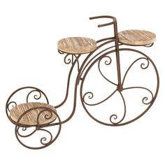 Farmhouse 23 Inch Antique Bronze Bicycle Plant Stand by Studio (Garden Three Shelf Tricycle Planter), Tan, Studio 350 (Iron) , Outdoor Décor Wheelbarrow Planter, Wood Plant Stand, Plant Stands, High Quality Furniture, Wood Shelves, Accent Furniture, 1 Piece, Modern Design, Creations