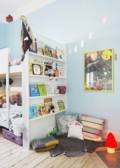 Shared room-space saving reading nook and bunk beds - what a great idea! Reading nook now-desk later?