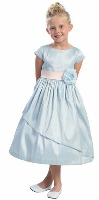 Cute!!!  Light Blue Poly Dupioni Dress w/Sleeves