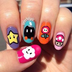 Every girl gamer needs the nails Kawaii Nail Art, Cute Nail Art, Cute Nails, Pretty Nails, Crazy Nails, Fancy Nails, Hair And Nails, My Nails, Monster Nails