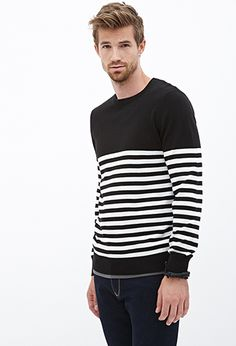 Ribbed Knit Striped Sweater; black & white; size Small. $19.80 | FOREVER21 - 2000067179;