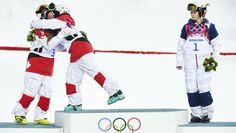 Third placed Hannah Kearney of the U. watches as winner Canada's Justine Dufour-Lapointe embraces her second placed sister. Hannah looks disappointed, to say the least. Olympic Medals, Olympic Sports, Winter Olympic Games, Winter Olympics, Freestyle Skiing, Nbc Olympics, Contact Sport, Snowboarding Men