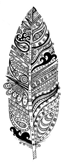 Free coloring page coloring-adult-leave-and-patterns. A big leaf (or feather) to color, with zentangle patterns Coloring Book Pages, Printable Coloring Pages, Coloring Sheets, Doodles Zentangles, Zentangle Patterns, Embroidery Patterns, Creative Outlet, Mandala Art, Mandala Feather