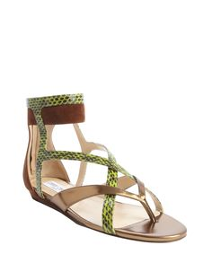 gold and green leather and snakeskin 'Hessie' sandals