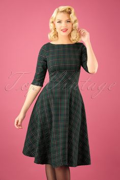 e68ea5bcd547 Put on this 50s Peebles Tartan Swing Dress in Green and swing your way into  winter