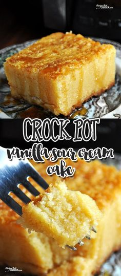 This Crock Pot Vanilla Sour Cream Cake is super simple and incredibly delicious!