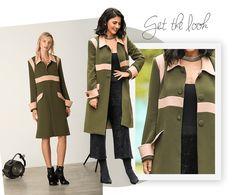 No look Alice Ferraz, um mix das características tradicionais com elementos leves e superfemininos. O casaco, da Olympiahna naShop Lix Mix, tem traços inspirados no estilo 40's. Aqui, a leveza fica por conta do rosa clarinho nas golas e emrecortes estratégicos, tanto nas cavas e na linha do busto. Para combinar, uma blusa preta + calça pantacourt com fios de lurex