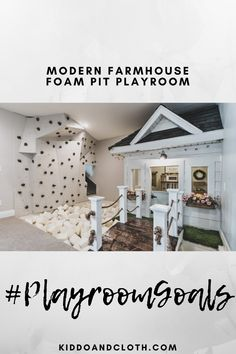The rest of this modern farmhouse designed home is absolutely breathtaking, but we want to live in the play room! Who can get over this stylish rock climbing wall! (If only we had the upper body strength to climb with the kids🤣)