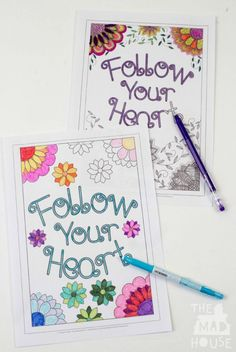Follow your heart colouring sheets. Simpler for kids and more intricate colouring version for adults, Join in with the adult colouring craze with our fab free printables