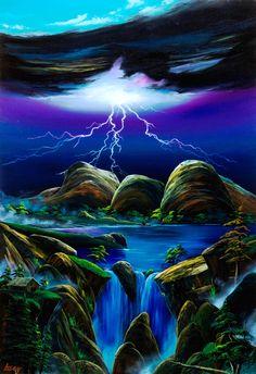 オルガの落雷と滝風景。。・・・P50号(116.7×80.3ミリ)アクリル|ハンドメイド、手作り、手仕事品の通販・販売・購入ならCreema。
