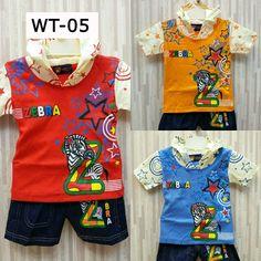 Kode: WT-05 Motif: Zebra Varian warna: merah, orange, biru.  Kaos dengan penutup kepala. Celana jeans. . . ===================================== . Bagi yang memiliki anak atau keponakan yang masih BALITA, ada kaos dan celana lucu dan bergambar karakter kartun. Pas banget untuk dikasih kado ^_^  Kenapa beli di kami? . . * Bahan cukup tebal dengan warna-warna yang menarik :) . . * Nyaman dipakai pada saat santai, bahan katun yang tebal & tidak panas pada saat digunakan. Cocok banget buat…