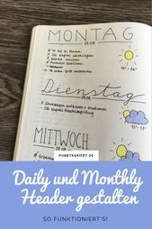 Create daily headers and headlines in the Bullet Journal point Checked Design daily headers and monthly headers in the Bullet Journal: This is how you can use hand letter Daily Calendar, Kids Calendar, 2021 Calendar, Monthly Planner Printable, Printable Calendar Template, Weekly Planner, Journal Inspiration, Bullet Journal Headers, Scrapbook Organization