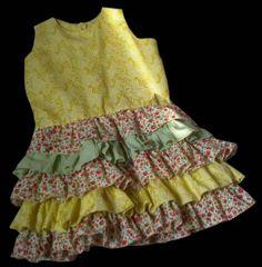 lindo vestidos para nenas combinando telas unicolor y estampadas