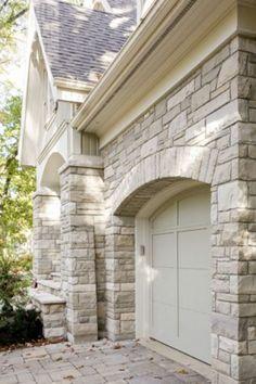 Ideas For Exterior House Stone Siding Garage Doors Stone Exterior Houses, House Paint Exterior, Building Exterior, Exterior House Colors, Exterior Design, Cottage Exterior, Facade Design, Exterior Paint Colors For House With Stone, Cafe Exterior