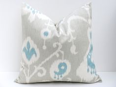 Ikat Pillow Throw Pillow Covers 20x20 Gray Pillow  Grey Blue Pillow Decorative Throw Pillows ONE Printed fabric both sides. $19.00, via Etsy.