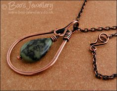 Green jade and antiqued copper teardrop pendant