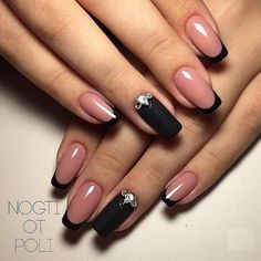 Beautiful winter nails, Beyonce nails, Black french manicure, Black lacquer nails, Black nails with Black Nails, Pink Nails, My Nails, Black French Nails, French Hair, French Beauty, Matte Black, Black Nail Designs, Best Nail Art Designs