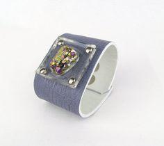 D R U Z Y & violet leather // cuff by Blydesign on Etsy, $70.00