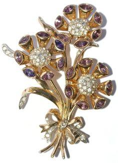 Coro Craft Sterling Floral Rhinestone Pin Brooch 1940's