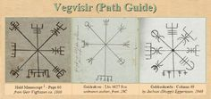The three known manuscript versions of Vegvisir: Huld 1860AD, Galdraskræður 1940AD, and Galdrakver 19th C.