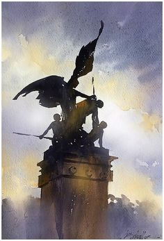 """""""Angels in the Architecture"""" - Rome Thomas W Schaller - Watercolor. 15x22 inches 26 June 2015"""