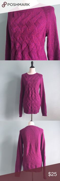 Lands' End Knit Sweater Pink/purple knit sweater with different color threads. Super comfortable and warm. In great condition. Size L/T, which means it is a large tall. The sleeves are really long and so is the torso because it is tall. By Lands' End. Lands' End Sweaters Crew & Scoop Necks