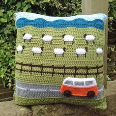 Do you dream of having your own campervan adventures? Even if you don't have a van you can still crochet your own mini adventure with our Campervan Travels Countryside cushion pattern! Crochet Cushion Cover, Crochet Cushions, Crochet Pillow, Crochet Stitches, Cushion Pillow, Cushion Covers, Double Knitting, Baby Knitting, Knitting Yarn