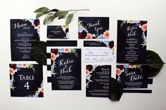 Downloadable Navy Blue Stripes and Floral Wedding by DColovenotes