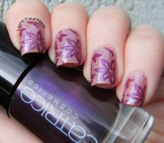 Pink holo stamping with BornPrettyStore BP-L008 plate