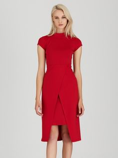 Cross-over Dress Red Short Sleeve Dresses, Dresses With Sleeves, Dress Red, Dresses For Work, Model, How To Wear, Outfits, Style, Fashion