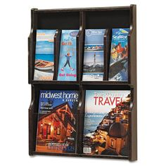"Safco SAF5704MH Expose Adj Magazine/Pamphlet 4-Pocket Display 20""w x 2-1/2""d x 2 Mahogany Office Furniture Literature Display Cases Magazine Racks"