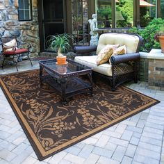 Beautiful Floral Brown Outdoor Carpet