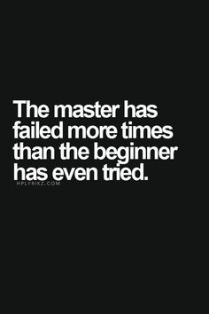 The master has failed more times than the beginner have even tried.