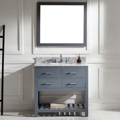 Virtu USA Caroline Estate 36-inch Grey Square Single Sink Italian White Carrara Marble Vanity Set