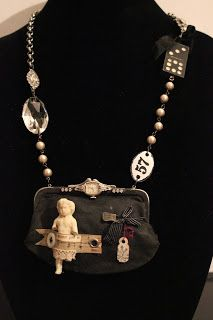 Necklace with vintage coin purse and charlotte doll