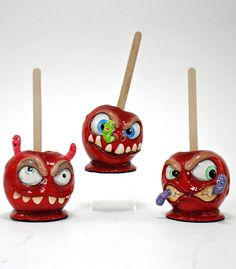 """Katherine's Collection Candy Halloween Collection Set Six Approx 7"""" Monster Candy Apples Free Ship"""