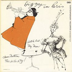"Dizzy Gillespie: Dizzy in Paris Label: Contemporary C4011 7"" EP 1955 Design: Robert Guidi"