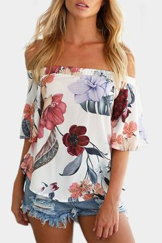 Fashion Women Chiffon Blouse Summer Short Sleeve Sexy Off Shoulder Floral Print Blouse Casual Tops Shirt blusas feminina Casual Outfits, Cute Outfits, Fashion Outfits, Womens Fashion, Fashion Trends, Style Fashion, Casual Shorts, Boho Fashion, Floral Outfits