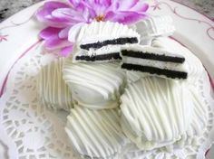 wedding oreos. I would use food coloring to change the drizzled icing to my wedding colors.