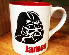 Personalized Star Wars Inspired Mugs: Hand Painted Characters with quotes, Colorful inside.