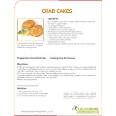 Recipe for delicious Crab Cakes for those who are dieting. This is wonderful weight loss recipe for those who are want to reduce weight from California Medical Weight Management. For more visit - http://www.calmwm.com/program
