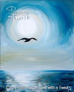 "Join us for some painting fun with friends and create your own ""Moving Forward"" ocean scene Wednesday, May 18 @ 7pm."