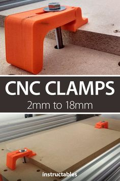 CNC Clamps Inch) to Inch): Clamps for holding down your workpiece on a cnc router. The clamps are designed for holding down materials with a thickness of to 18 mm.I designed the clamp using Fusion are 4 different sizes for the bolt that goes through, o. Router Projects, 3d Printer Projects, Diy Pallet Projects, Cnc Router, Arduino Cnc, Arduino Programming, Diy 3d Drucker, Home Decor Furniture, Furniture Design