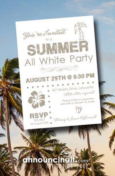 All White Party Invitation White Party Invitation Summer White